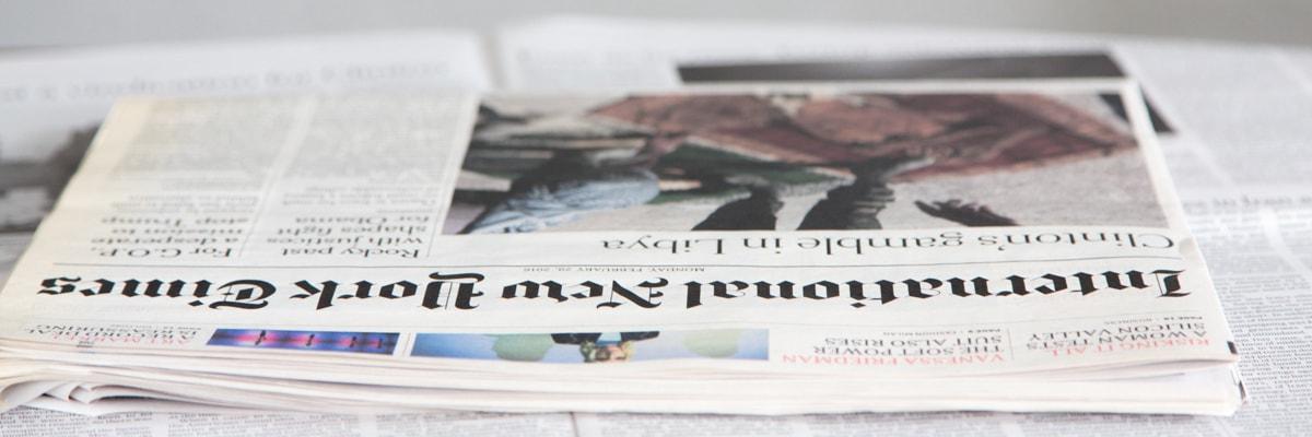 Lehtitalo , tulevaisuus tehdään itse uutismedia. Kuvassa digipainettu International New york Times. Digitaalinen paino pystyy tekemään lehteen useita personointeja asiakkaan mielenkiinnon mukaisesti.